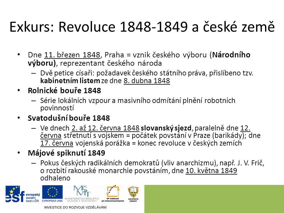 Exkurs: Revoluce 1848-1849 a české země Dne 11.