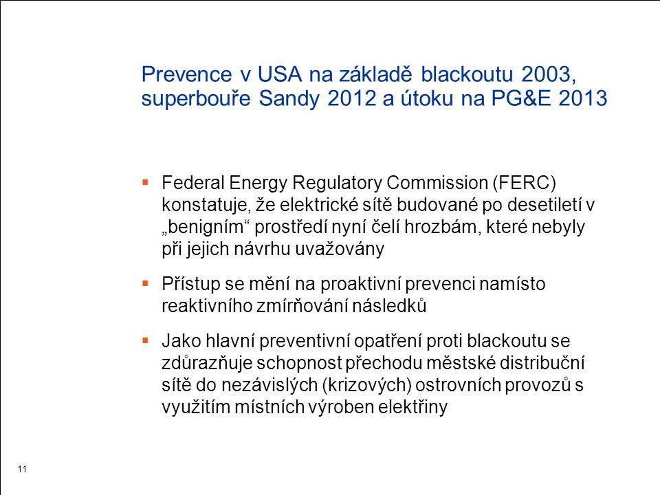 """Prevence v USA na základě blackoutu 2003, superbouře Sandy 2012 a útoku na PG&E 2013  Federal Energy Regulatory Commission (FERC) konstatuje, že elektrické sítě budované po desetiletí v """"benigním prostředí nyní čelí hrozbám, které nebyly při jejich návrhu uvažovány  Přístup se mění na proaktivní prevenci namísto reaktivního zmírňování následků  Jako hlavní preventivní opatření proti blackoutu se zdůrazňuje schopnost přechodu městské distribuční sítě do nezávislých (krizových) ostrovních provozů s využitím místních výroben elektřiny 11"""