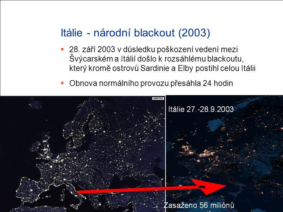 Itálie - národní blackout (2003)  28. září 2003 v důsledku poškození vedení mezi Švýcarském a Itálií došlo k rozsáhlému blackoutu, který kromě ostrov