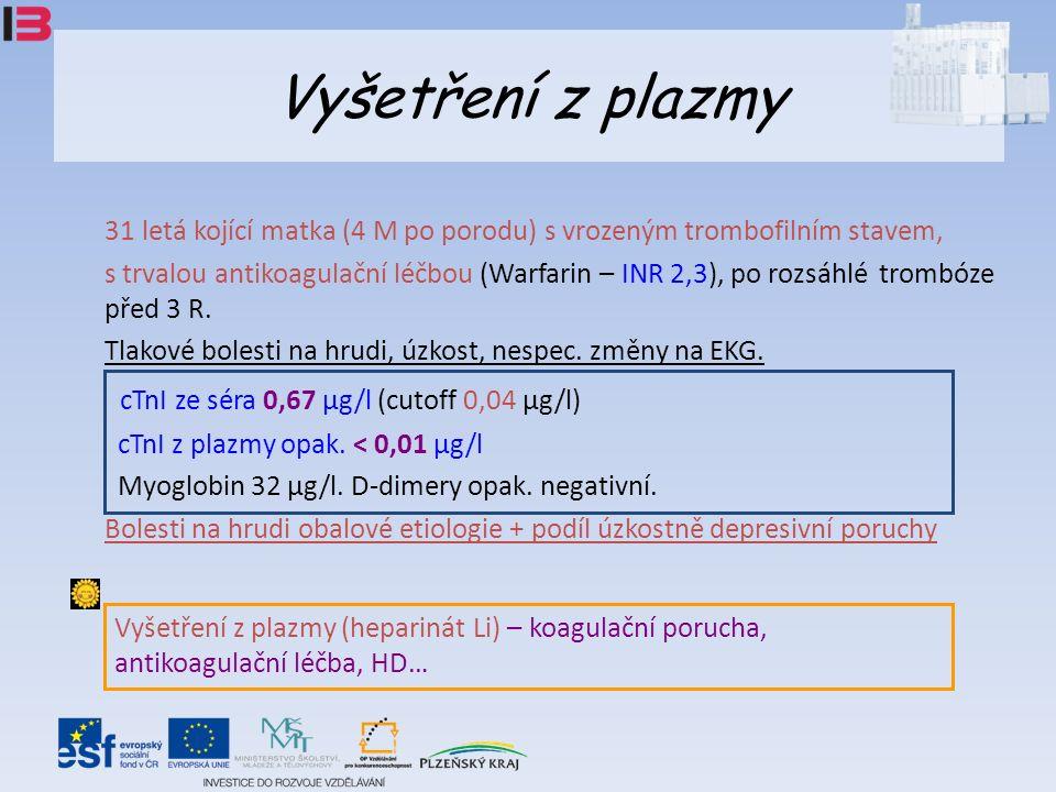 Vyšetření z plazmy 31 letá kojící matka (4 M po porodu) s vrozeným trombofilním stavem, s trvalou antikoagulační léčbou (Warfarin – INR 2,3), po rozsáhlé trombóze před 3 R.