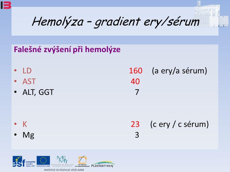 Hemolýza – gradient ery/sérum Falešné zvýšení při hemolýze LD 160 (a ery/a sérum) AST 40 ALT, GGT 7 K 23 (c ery / c sérum) Mg 3