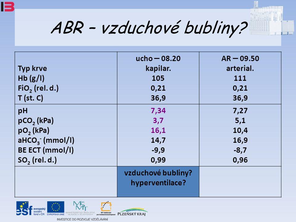 ABR – vzduchové bubliny. Typ krve Hb (g/l) FiO 2 (rel.