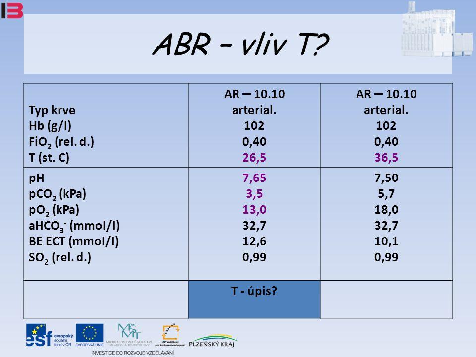 ABR – vliv T. Typ krve Hb (g/l) FiO 2 (rel. d.) T (st.