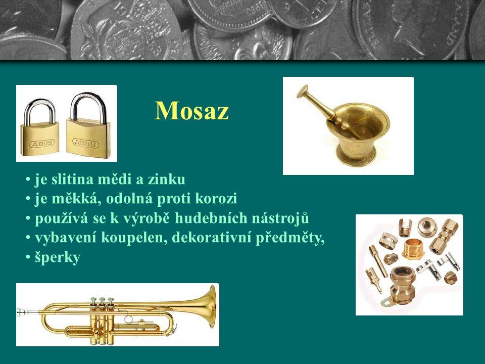 Bronz je slitina mědi a cínu je znám od starověku velká odolnost proti korozi dnes se přidávají další kovy a vyrábějí se stovky druhů slitin bronzu používá se na výrobu čerpadel, součástí ponorek a lodí, soch, medailí, mincí, pamětních desek