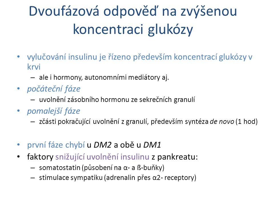 Dvoufázová odpověď na zvýšenou koncentraci glukózy vylučování insulinu je řízeno především koncentrací glukózy v krvi – ale i hormony, autonomními mediátory aj.