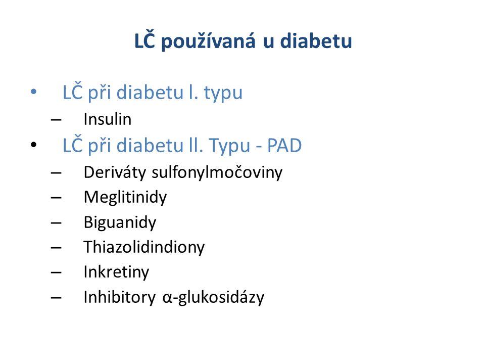LČ používaná u diabetu LČ při diabetu l. typu – Insulin LČ při diabetu ll.
