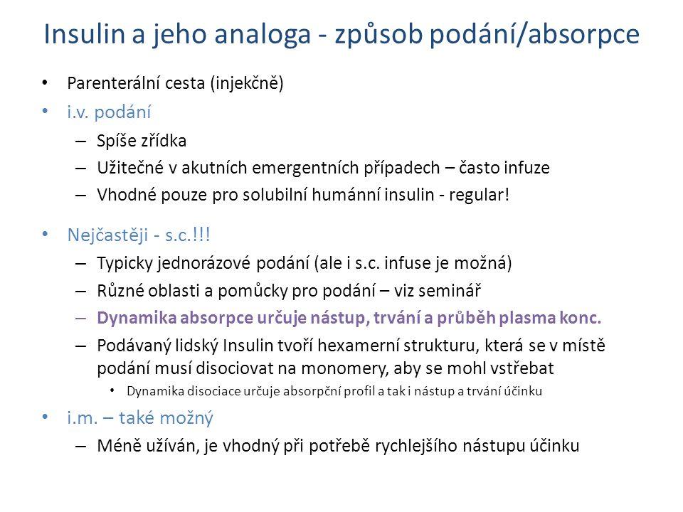 Insulin a jeho analoga - způsob podání/absorpce Parenterální cesta (injekčně) i.v.