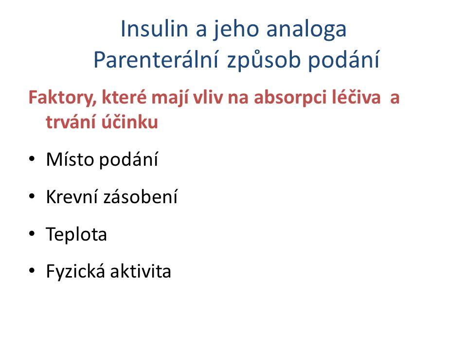 Insulin a jeho analoga Parenterální způsob podání Faktory, které mají vliv na absorpci léčiva a trvání účinku Místo podání Krevní zásobení Teplota Fyzická aktivita