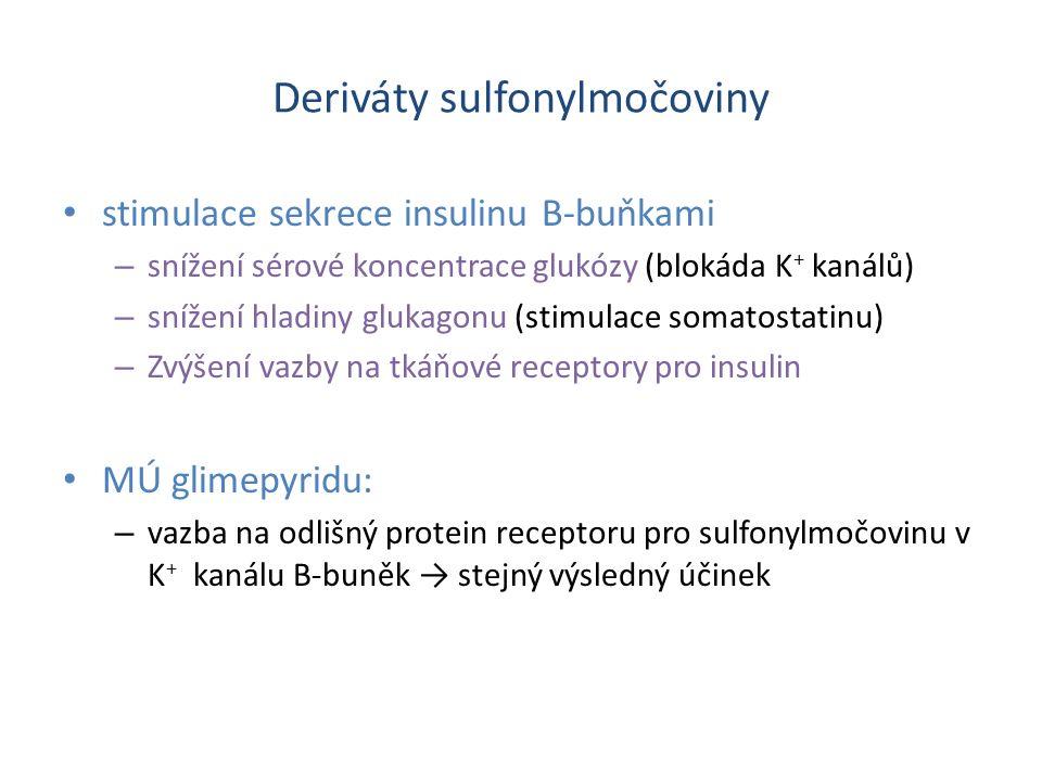 Deriváty sulfonylmočoviny stimulace sekrece insulinu B-buňkami – snížení sérové koncentrace glukózy (blokáda K + kanálů) – snížení hladiny glukagonu (stimulace somatostatinu) – Zvýšení vazby na tkáňové receptory pro insulin MÚ glimepyridu: – vazba na odlišný protein receptoru pro sulfonylmočovinu v K + kanálu B-buněk → stejný výsledný účinek