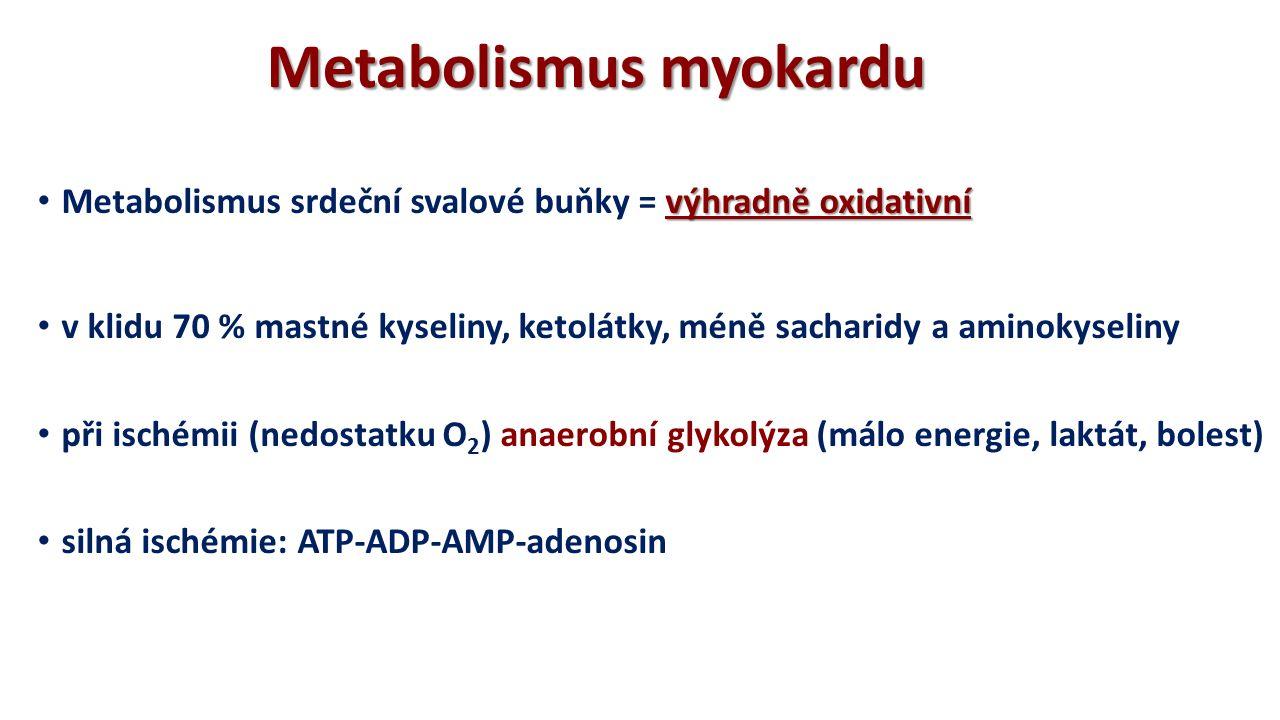 Metabolismus myokardu v klidu 70 % mastné kyseliny, ketolátky, méně sacharidy a aminokyseliny při ischémii (nedostatku O 2 ) anaerobní glykolýza (málo