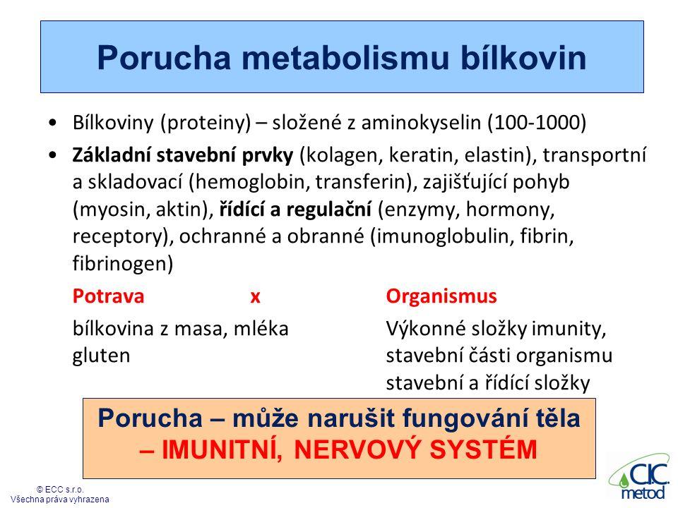 Porucha metabolismu bílkovin Bílkoviny (proteiny) – složené z aminokyselin (100-1000) Základní stavební prvky (kolagen, keratin, elastin), transportní