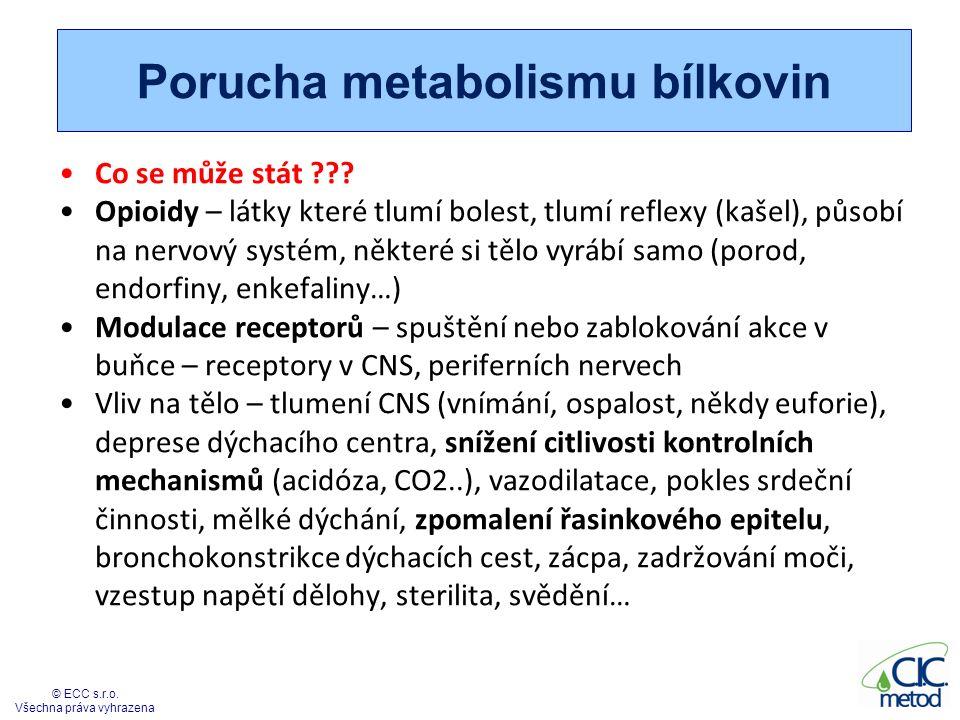 Porucha metabolismu bílkovin Co se může stát ??? Opioidy – látky které tlumí bolest, tlumí reflexy (kašel), působí na nervový systém, některé si tělo