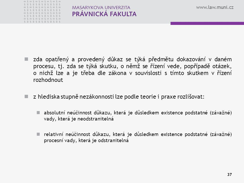 www.law.muni.cz zda opatřený a provedený důkaz se týká předmětu dokazování v daném procesu, tj.