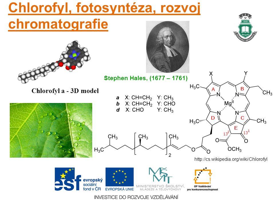 Chlorofyl, fotosyntéza, rozvoj chromatografie Chlorofyl a - 3D model http://cs.wikipedia.org/wiki/Chlorofyl Stephen Hales, (1677 – 1761)