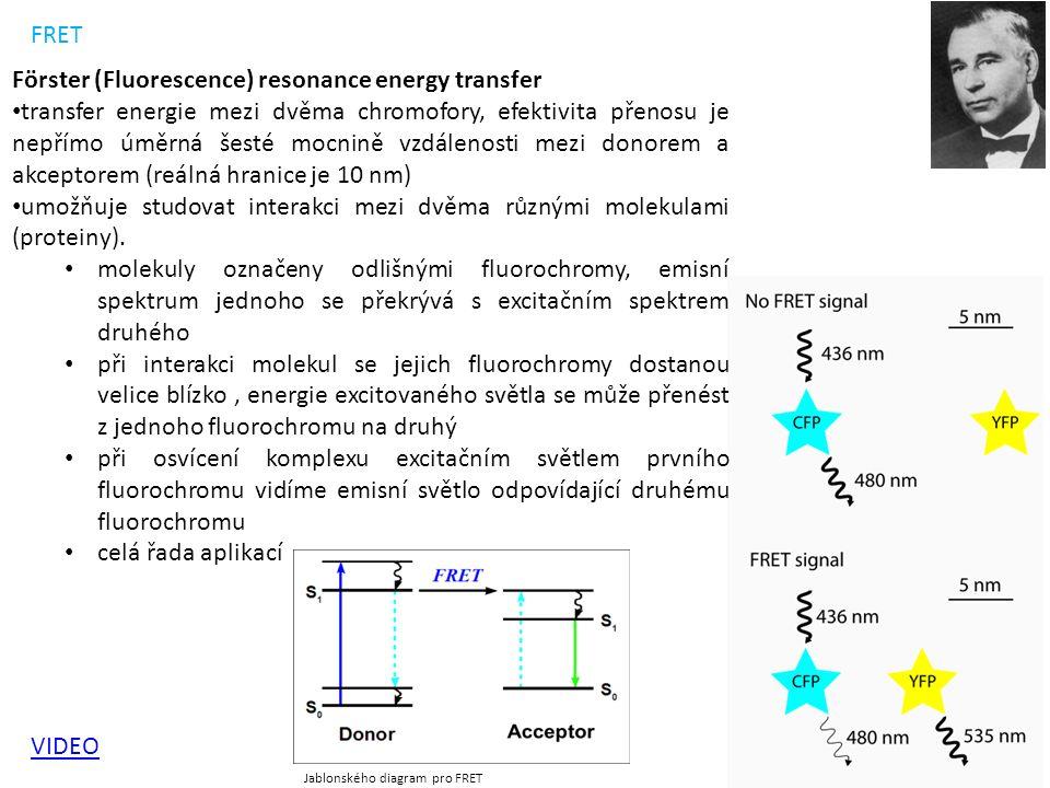 VIDEO FRET Jablonského diagram pro FRET Förster (Fluorescence) resonance energy transfer transfer energie mezi dvěma chromofory, efektivita přenosu je nepřímo úměrná šesté mocnině vzdálenosti mezi donorem a akceptorem (reálná hranice je 10 nm) umožňuje studovat interakci mezi dvěma různými molekulami (proteiny).