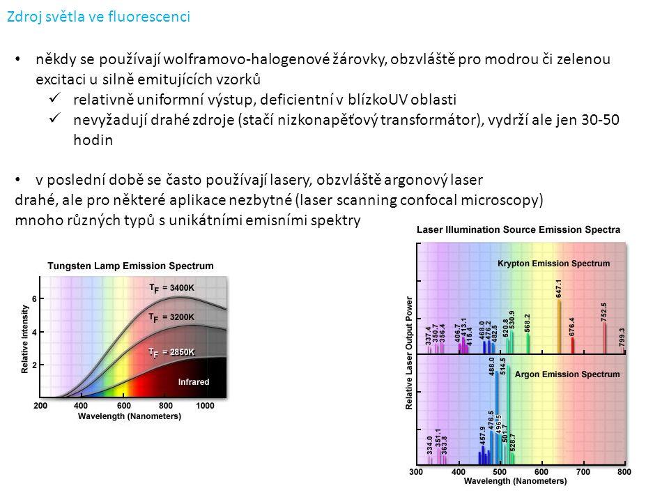 Zdroj světla ve fluorescenci někdy se používají wolframovo-halogenové žárovky, obzvláště pro modrou či zelenou excitaci u silně emitujících vzorků relativně uniformní výstup, deficientní v blízkoUV oblasti nevyžadují drahé zdroje (stačí nizkonapěťový transformátor), vydrží ale jen 30-50 hodin v poslední době se často používají lasery, obzvláště argonový laser drahé, ale pro některé aplikace nezbytné (laser scanning confocal microscopy) mnoho různých typů s unikátními emisními spektry