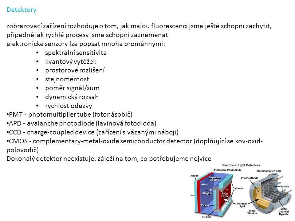 zobrazovací zařízení rozhoduje o tom, jak malou fluorescenci jsme ještě schopni zachytit, případně jak rychlé procesy jsme schopni zaznamenat elektronické senzory lze popsat mnoha proměnnými: spektrální sensitivita kvantový výtěžek prostorové rozlišení stejnoměrnost poměr signál/šum dynamický rozsah rychlost odezvy PMT - photomultiplier tube (fotonásobič) APD - avalanche photodiode (lavinová fotodioda) CCD - charge-coupled device (zařízení s vázanými náboji) CMOS - complementary-metal-oxide semiconductor detector (doplňující se kov-oxid- polovodič) Dokonalý detektor neexistuje, záleží na tom, co potřebujeme nejvíce Detektory