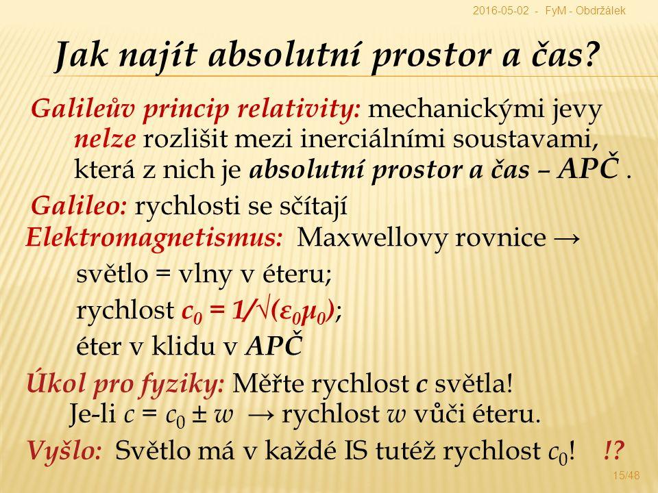 Galileův princip relativity: mechanickými jevy nelze rozlišit mezi inerciálními soustavami, která z nich je absolutní prostor a čas – APČ.