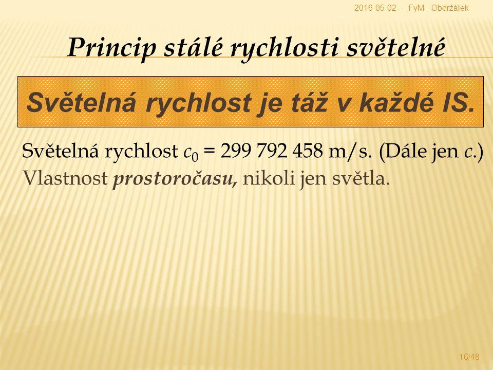 Princip stálé rychlosti světelné Světelná rychlost c 0 = 299 792 458 m/s.