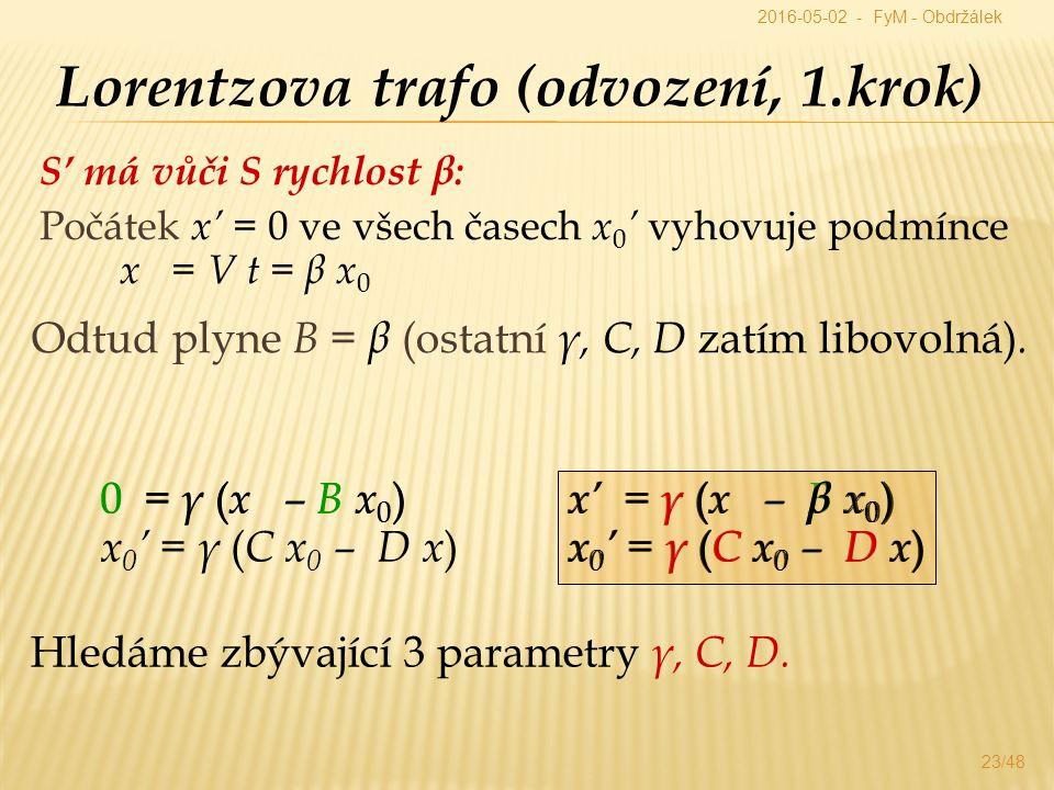 S' má vůči S rychlost β: Počátek x' = 0 ve všech časech x 0 ' vyhovuje podmínce x = V t = β x 0 23/48 Lorentzova trafo (odvození, 1.krok) x' = γ ( x – B x 0 ) x 0 ' = γ ( C x 0 – D x ) Odtud plyne B = β (ostatní γ, C, D zatím libovolná).