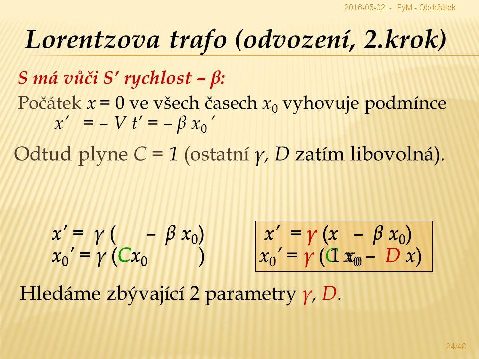 S má vůči S' rychlost – β: Počátek x = 0 ve všech časech x 0 vyhovuje podmínce x' = – V t' = – β x 0 ' 24/48 Lorentzova trafo (odvození, 2.krok) x' = γ ( – β x 0 ) x' = γ ( x – β x 0 ) x 0 ' = γ ( Cx 0 ) Hledáme zbývající 2 parametry γ, D.