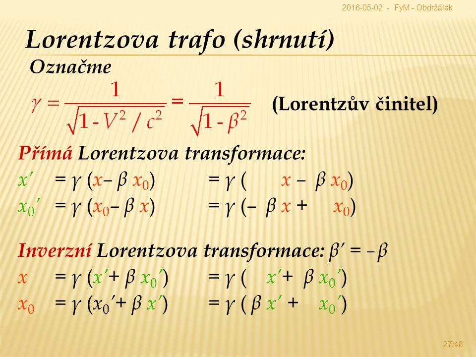 Přímá Lorentzova transformace: x' = γ ( x– β x 0 ) = γ ( x – β x 0 ) x 0 ' = γ ( x 0 – β x ) = γ ( – β x + x 0 ) Lorentzova trafo (shrnutí) Inverzní Lorentzova transformace: β' = – β x = γ ( x'+ β x 0 ' ) = γ ( x'+ β x 0 ' ) x 0 = γ ( x 0 '+ β x' ) = γ ( β x' + x 0 ' ) Označme (Lorentzův činitel) 2016-05-02 - FyM - Obdržálek 27/48