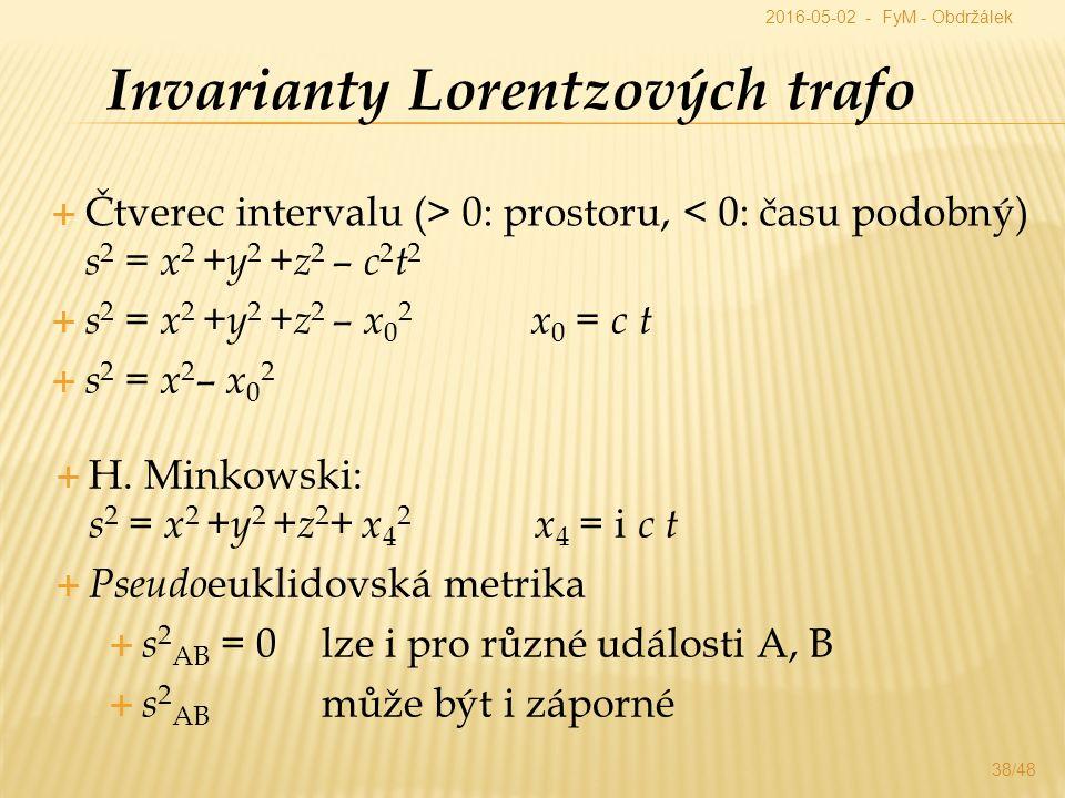  Čtverec intervalu (> 0: prostoru, < 0: času podobný) s 2 = x 2 + y 2 + z 2 – c 2 t 2 Invarianty Lorentzových trafo  s 2 = x 2 + y 2 + z 2 – x 0 2 x 0 = c t  s 2 = x 2 – x 0 2  H.