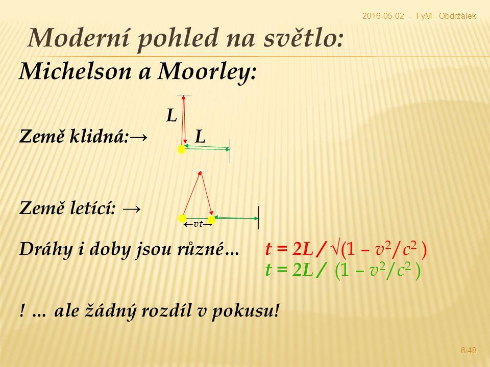 Moderní pohled na světlo: 6/48 2016-05-02 - FyM - Obdržálek Michelson a Moorley: L Země klidná:→ Země letící: →  vt→ Dráhy i doby jsou různé… t = 2L / √(1 – v 2 / c 2 ) t = 2L / (1 – v 2 / c 2 ) .