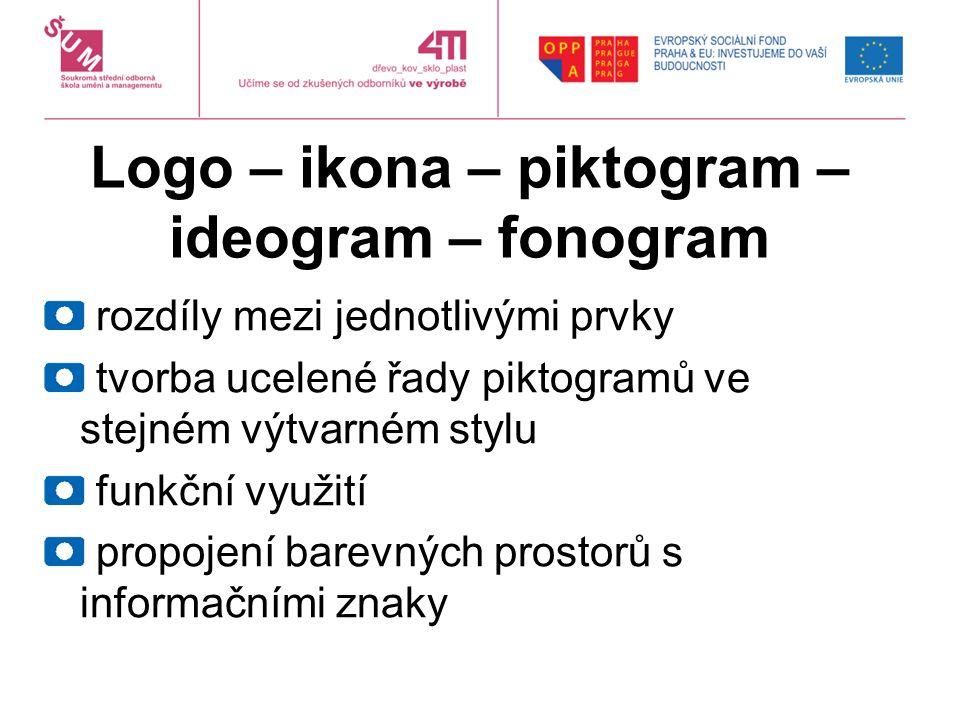 Logo – ikona – piktogram – ideogram – fonogram rozdíly mezi jednotlivými prvky tvorba ucelené řady piktogramů ve stejném výtvarném stylu funkční využití propojení barevných prostorů s informačními znaky