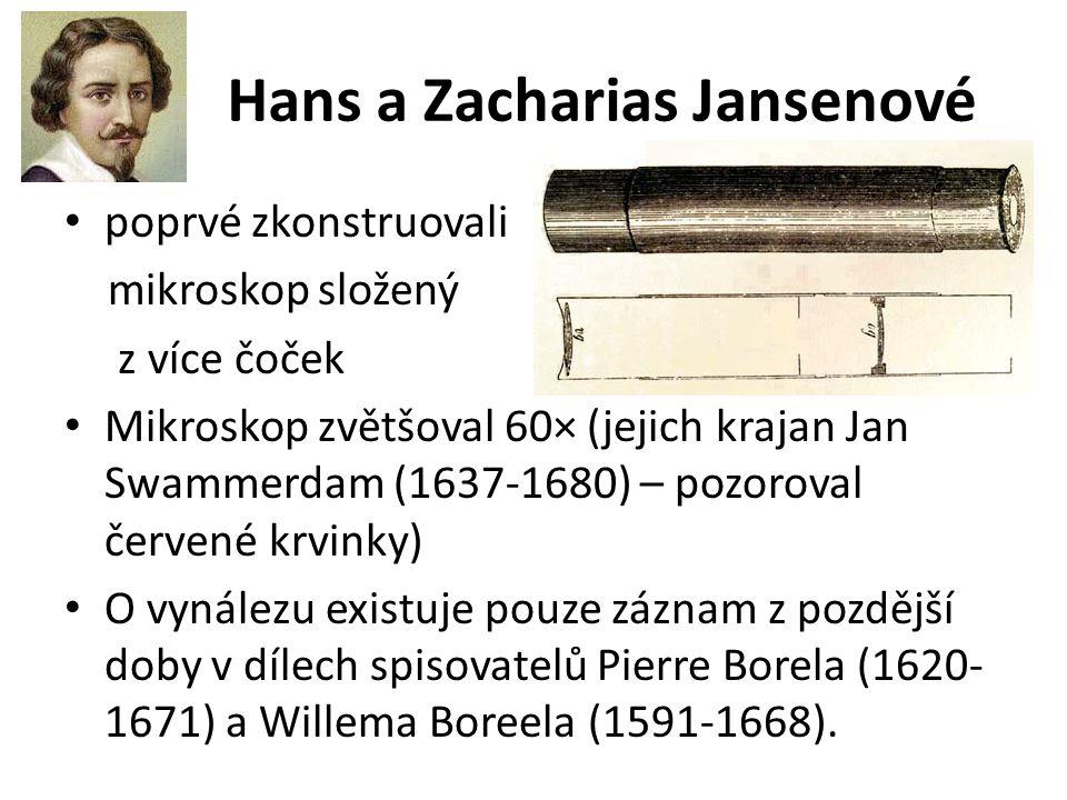 Hans a Zacharias Jansenové poprvé zkonstruovali mikroskop složený z více čoček Mikroskop zvětšoval 60× (jejich krajan Jan Swammerdam (1637-1680) – poz