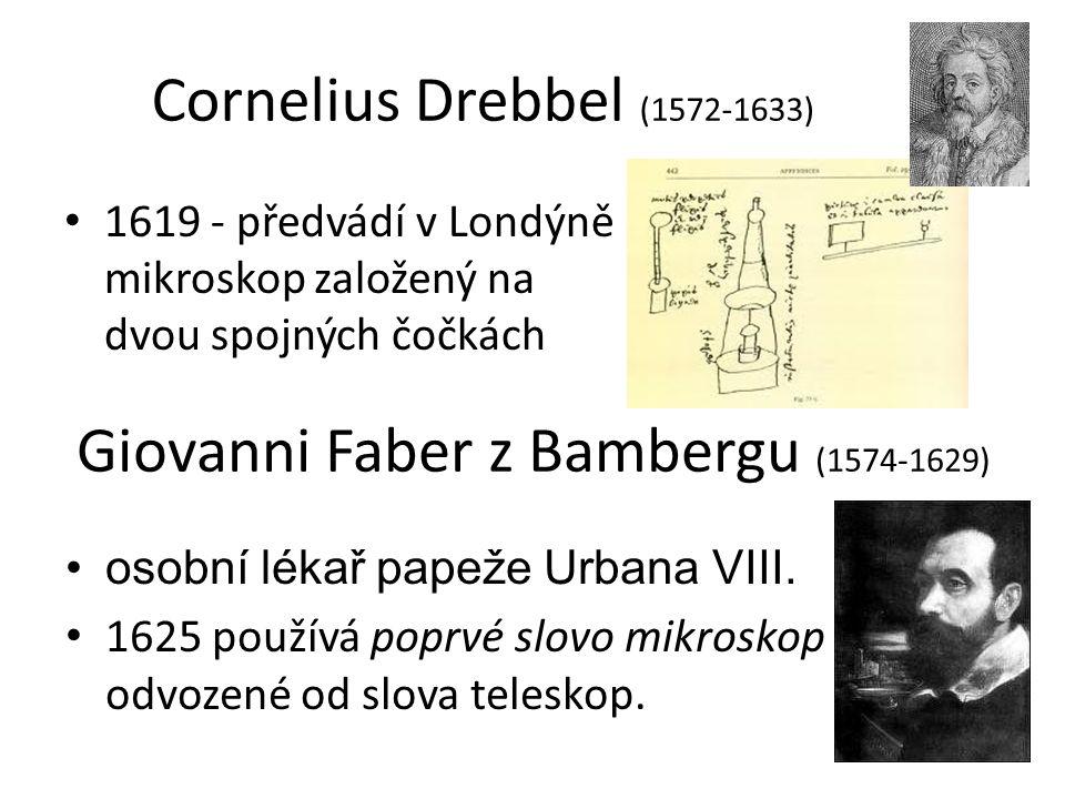 Cornelius Drebbel (1572-1633) 1619 - předvádí v Londýně mikroskop založený na dvou spojných čočkách Giovanni Faber z Bambergu (1574-1629) osobní lékař papeže Urbana VIII.