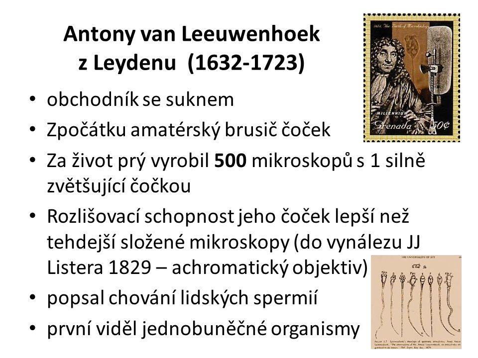 Antony van Leeuwenhoek z Leydenu (1632-1723) obchodník se suknem Zpočátku amatérský brusič čoček Za život prý vyrobil 500 mikroskopů s 1 silně zvětšující čočkou Rozlišovací schopnost jeho čoček lepší než tehdejší složené mikroskopy (do vynálezu JJ Listera 1829 – achromatický objektiv) popsal chování lidských spermií první viděl jednobuněčné organismy