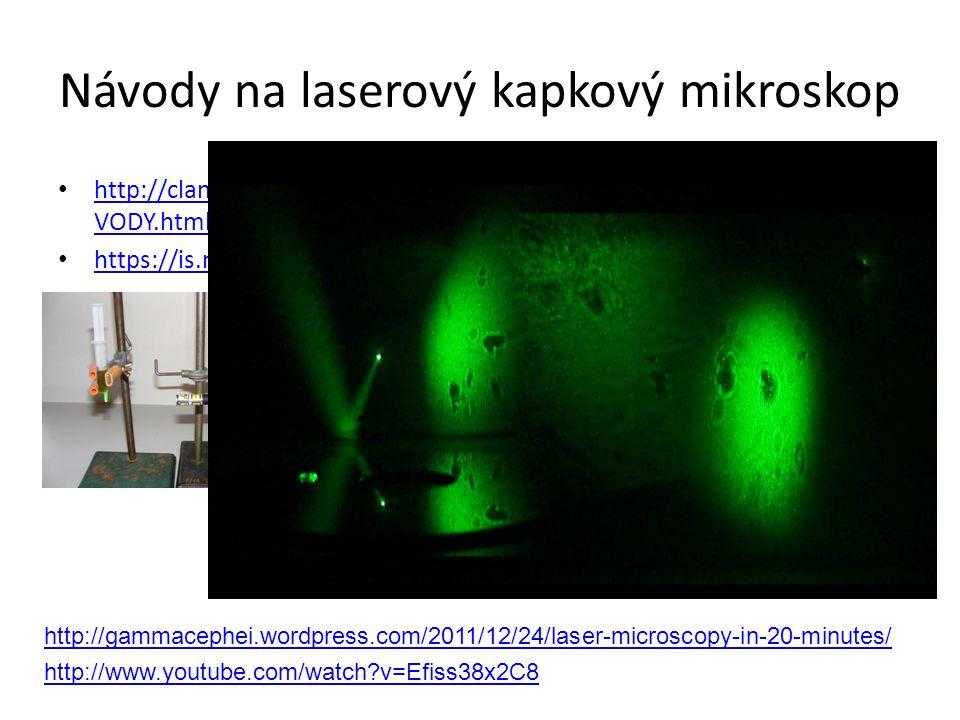 Návody na laserový kapkový mikroskop http://clanky.rvp.cz/clanek/r/GCCAC/2622/MIKROSKOP-Z-KAPKY- VODY.html/ http://clanky.rvp.cz/clanek/r/GCCAC/2622/M