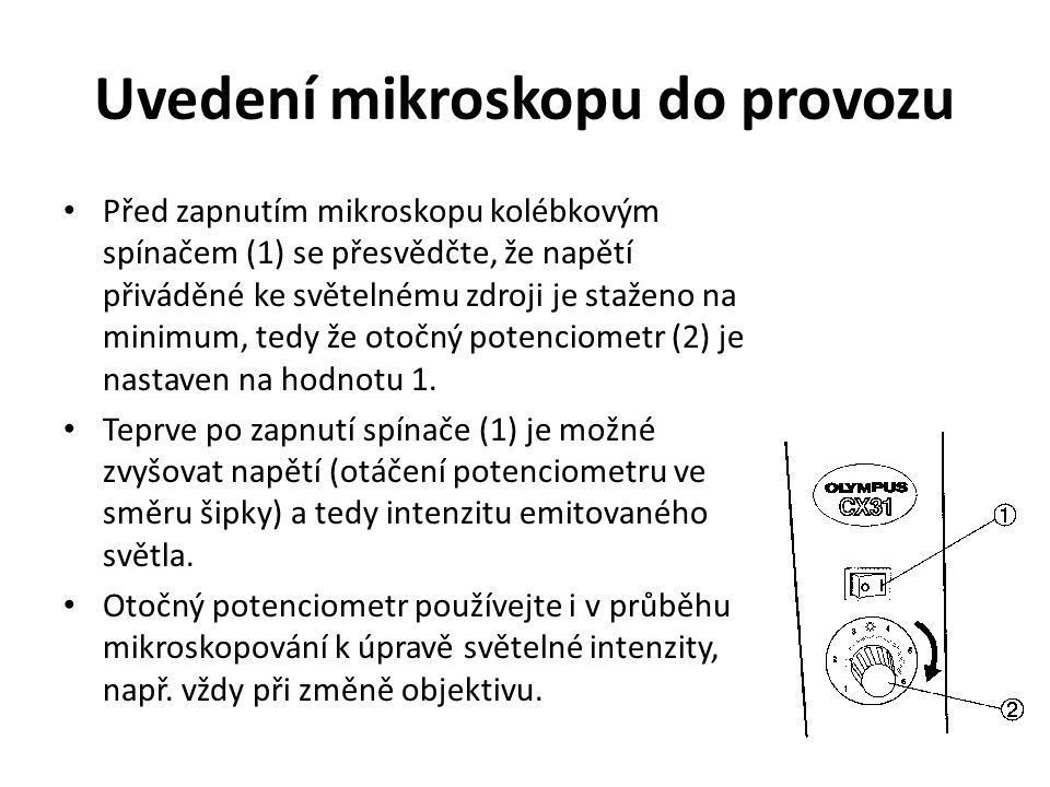 Uvedení mikroskopu do provozu Před zapnutím mikroskopu kolébkovým spínačem (1) se přesvědčte, že napětí přiváděné ke světelnému zdroji je staženo na minimum, tedy že otočný potenciometr (2) je nastaven na hodnotu 1.