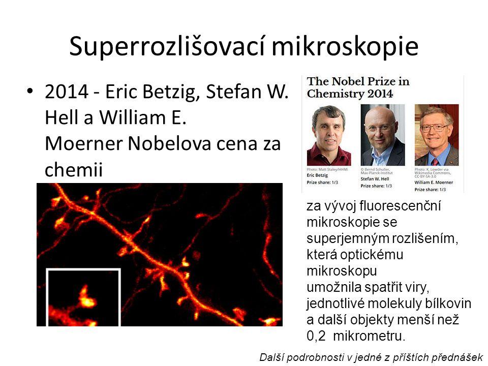 Superrozlišovací mikroskopie 2014 - Eric Betzig, Stefan W. Hell a William E. Moerner Nobelova cena za chemii za vývoj fluorescenční mikroskopie se sup