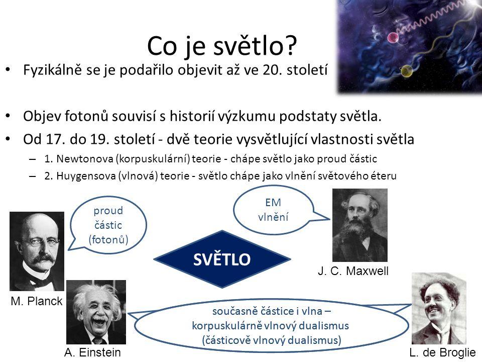 Fyzikálně se je podařilo objevit až ve 20. století Objev fotonů souvisí s historií výzkumu podstaty světla. Od 17. do 19. století - dvě teorie vysvětl