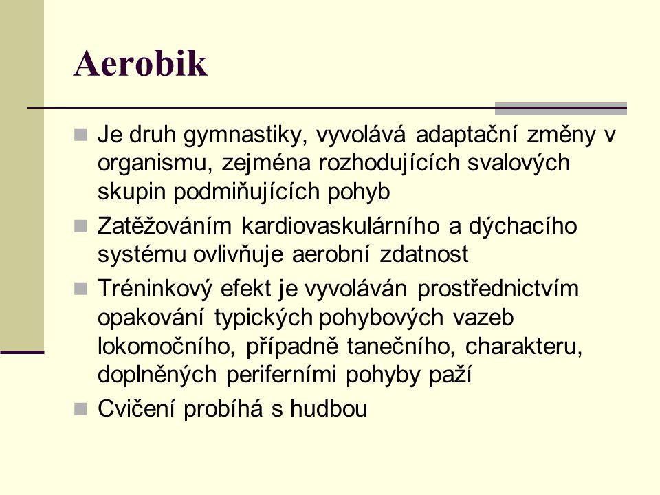 Aerobik Je druh gymnastiky, vyvolává adaptační změny v organismu, zejména rozhodujících svalových skupin podmiňujících pohyb Zatěžováním kardiovaskulá