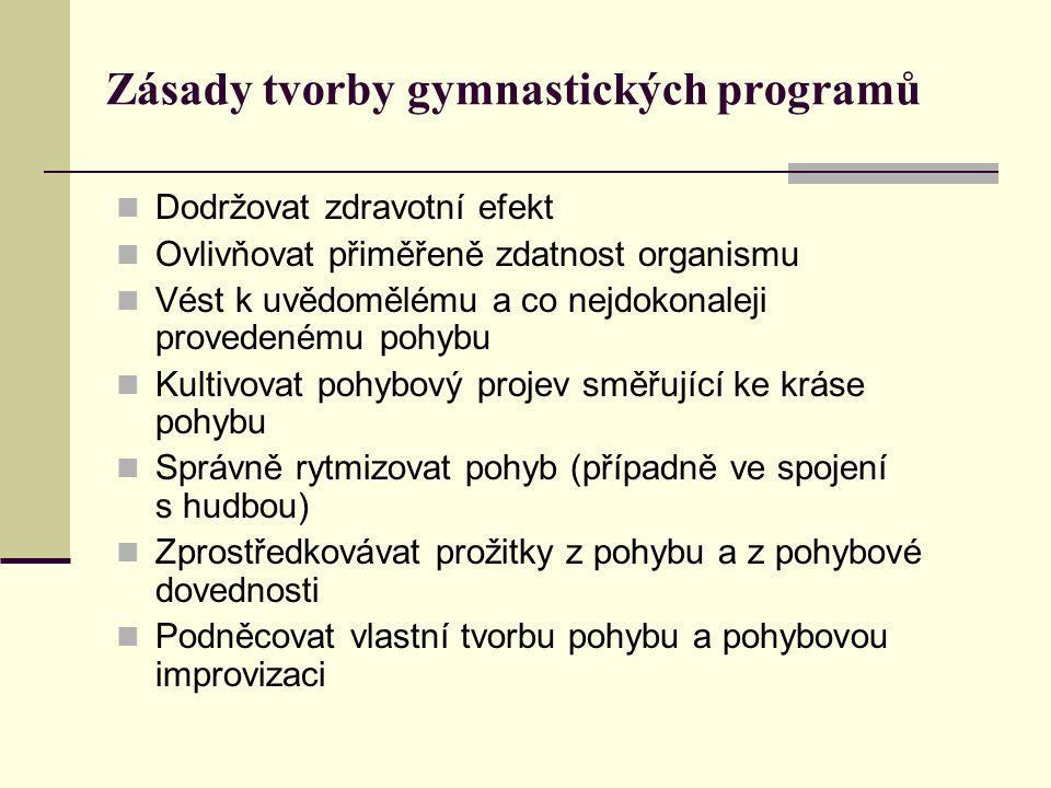 Zásady tvorby gymnastických programů Dodržovat zdravotní efekt Ovlivňovat přiměřeně zdatnost organismu Vést k uvědomělému a co nejdokonaleji provedené