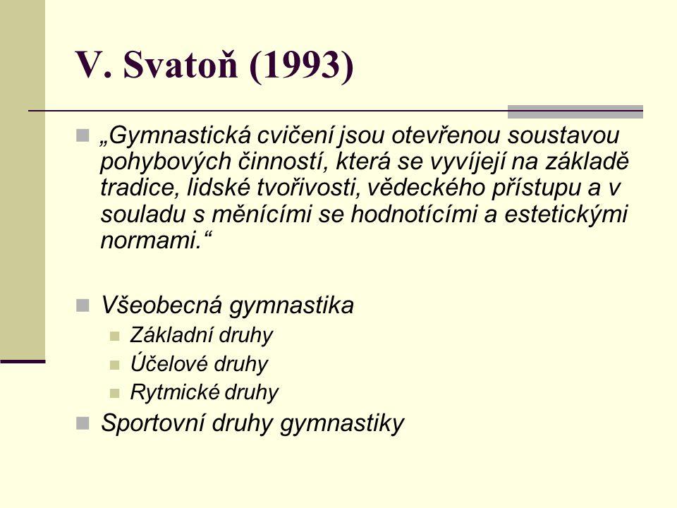 """V. Svatoň (1993) """"Gymnastická cvičení jsou otevřenou soustavou pohybových činností, která se vyvíjejí na základě tradice, lidské tvořivosti, vědeckého"""