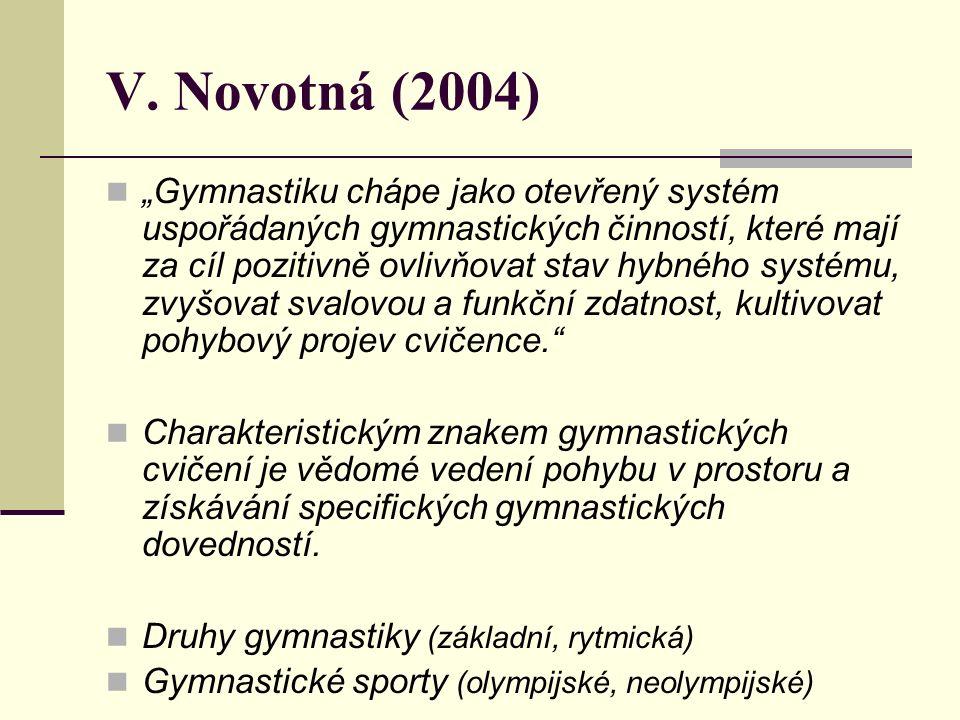 """V. Novotná (2004) """"Gymnastiku chápe jako otevřený systém uspořádaných gymnastických činností, které mají za cíl pozitivně ovlivňovat stav hybného syst"""