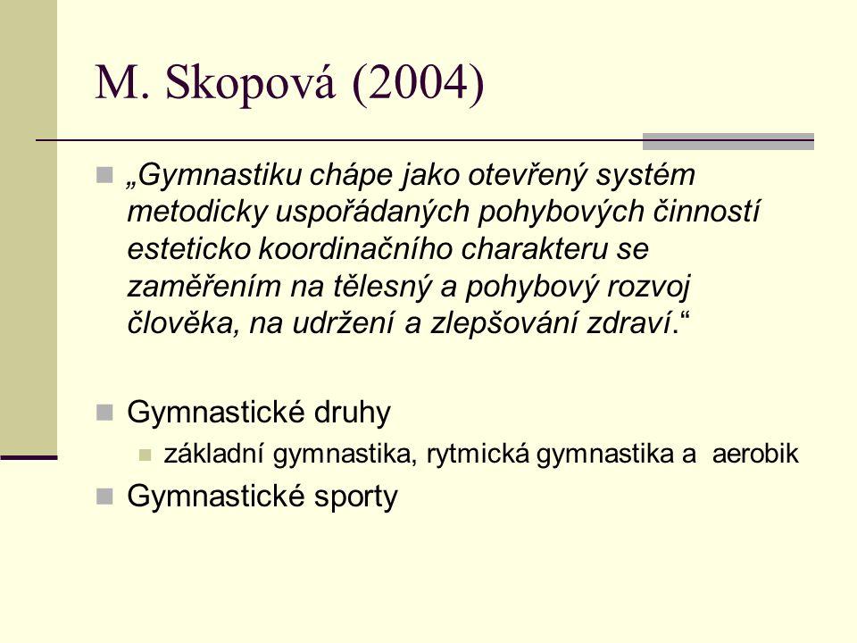 """M. Skopová (2004) """"Gymnastiku chápe jako otevřený systém metodicky uspořádaných pohybových činností esteticko koordinačního charakteru se zaměřením na"""