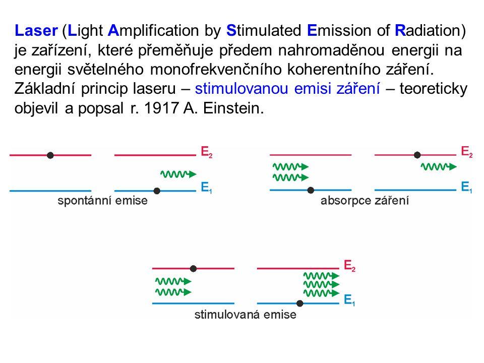 Záření vyslané atomem při stimulované emisi má stejný směr, stejnou frekvenci (monofrekvenčnost) a stejnou fázi (koherence) jako záření, které emisi vyvolalo – dopadající světlo se stimulovanými emisemi zesiluje.