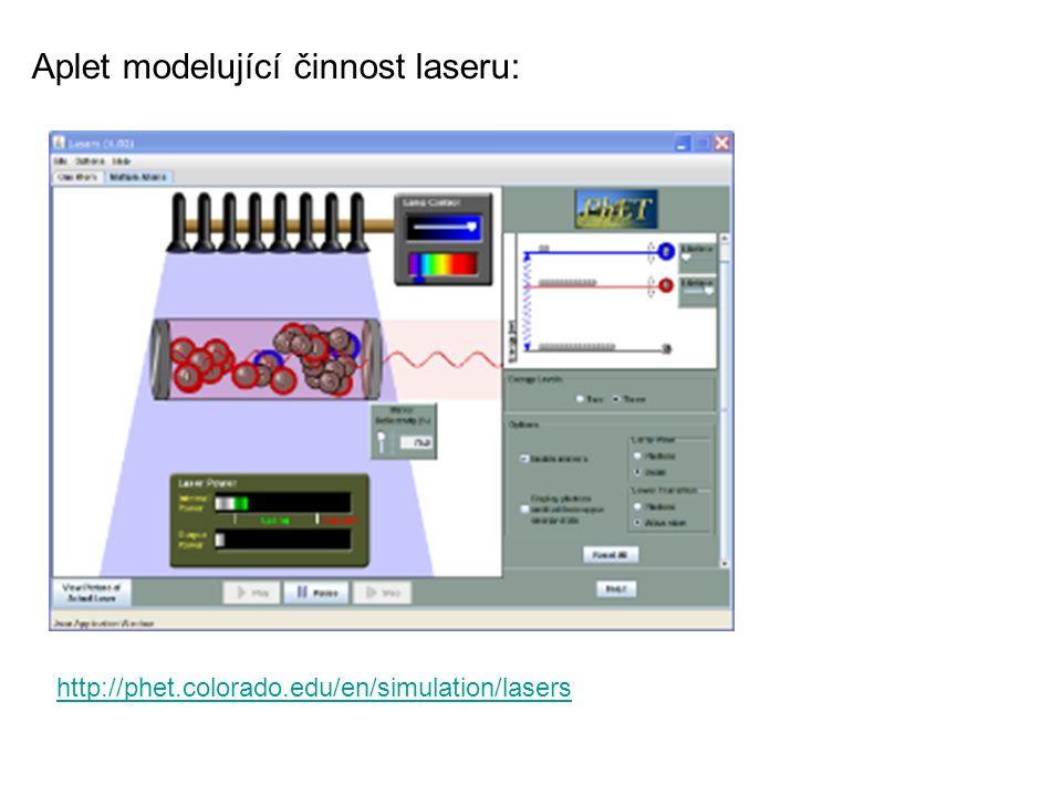 Aplet modelující činnost laseru: http://phet.colorado.edu/en/simulation/lasers