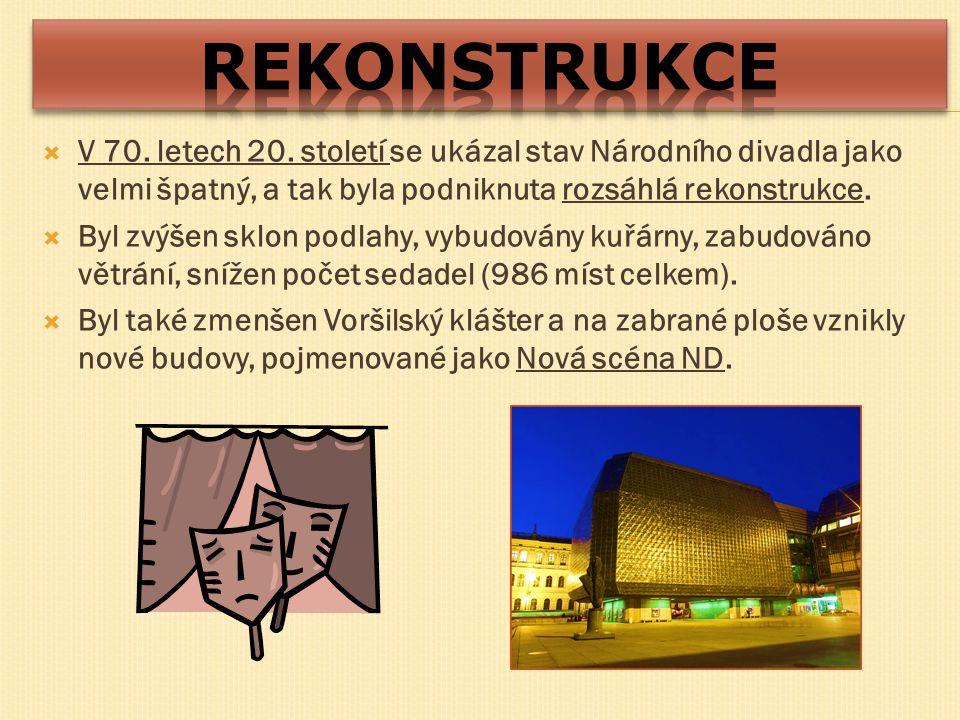  V 70. letech 20. století se ukázal stav Národního divadla jako velmi špatný, a tak byla podniknuta rozsáhlá rekonstrukce.  Byl zvýšen sklon podlahy