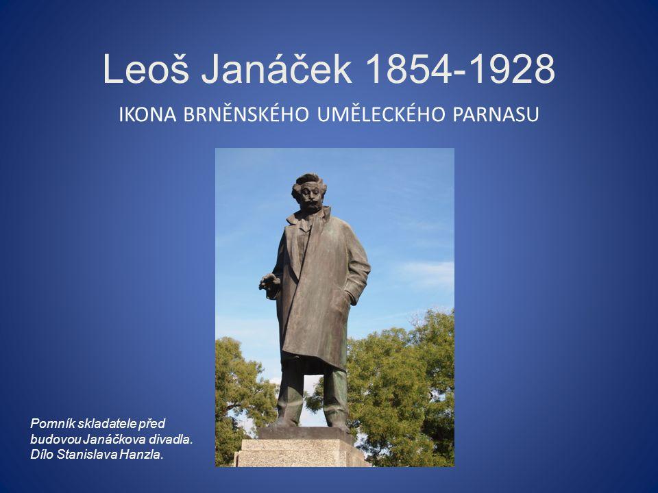 Leoš Janáček 1854-1928 IKONA BRNĚNSKÉHO UMĚLECKÉHO PARNASU Pomník skladatele před budovou Janáčkova divadla.