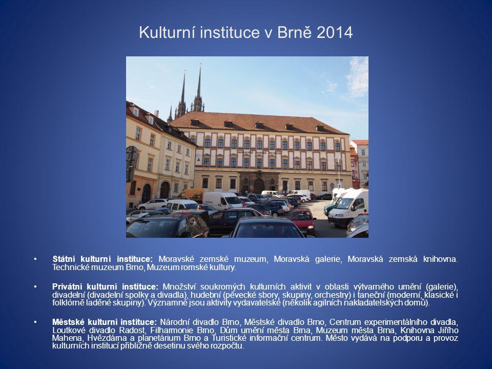 Kulturní instituce v Brně 2014 Státní kulturní instituce: Moravské zemské muzeum, Moravská galerie, Moravská zemská knihovna.