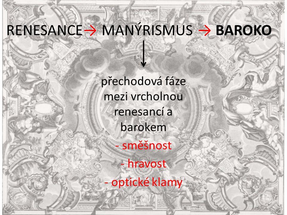 RENESANCE→ MANÝRISMUS → BAROKO přechodová fáze mezi vrcholnou renesancí a barokem - směšnost - hravost - optické klamy