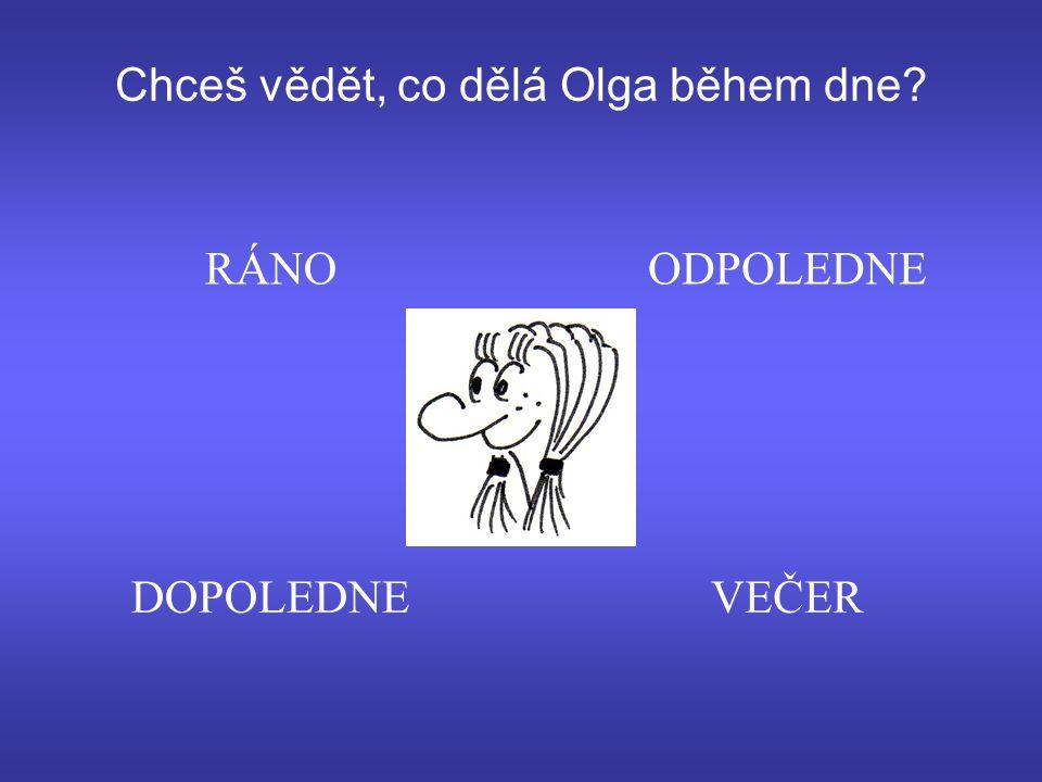 Chceš vědět, co dělá Olga během dne DOPOLEDNEVEČER ODPOLEDNERÁNO