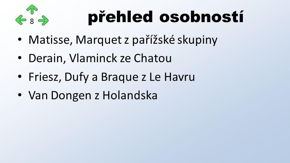 Matisse, Marquet z pařížské skupiny Derain, Vlaminck ze Chatou Friesz, Dufy a Braque z Le Havru Van Dongen z Holandska přehled osobností 8