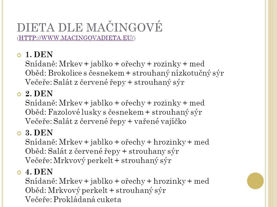 DIETA DLE MAČINGOVÉ (HTTP://WWW.MACINGOVADIETA.EU/)HTTP://WWW.MACINGOVADIETA.EU/ 1.